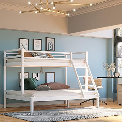 Panana Triple Bunk Bed, Thiple Sleeper, Solid Pine Wood Bed Frame, with Guardrail and Ladder, Single 3ft, Double 4ft6 (White)