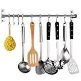Kitchen Sliding Hooks, Stainless Steel Hanging Rack Rail Organize Kitchen Tools with 10 Utensil Removable S Hooks for Towel, Pot Pan, Spoon, Coats, Bathrobe, BBQ,Wall Mounted Hanger
