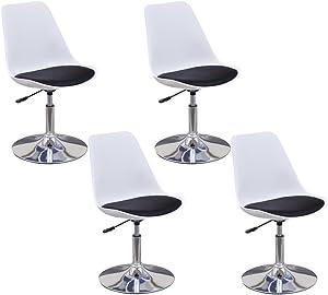 Festnight 4 chaises de salle à manger pivotantes réglables en Noir et Blanc