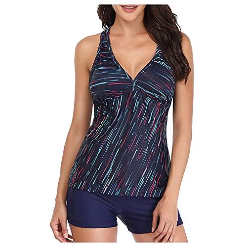 Bilbull Conjunto de bikini acolchado con estampado de leopardo, traje de baño push-up, de dos piezas, de un solo color, ropa de playa fruncido multicolor XL