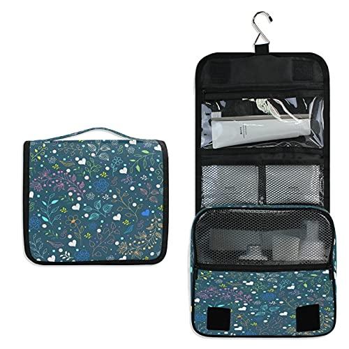 Bleu Foncé Trousse de Toilette à Suspendre Rangement MaquillageSac Voyage Portable Pliable Salle de Bain Trousse de Cosmétique pour Femmes Filles