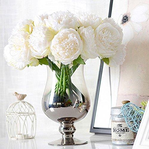 LianLe - Ramo de novia artificial hecho a mano de flores de peonía, flores decorativas, sin jarrón.