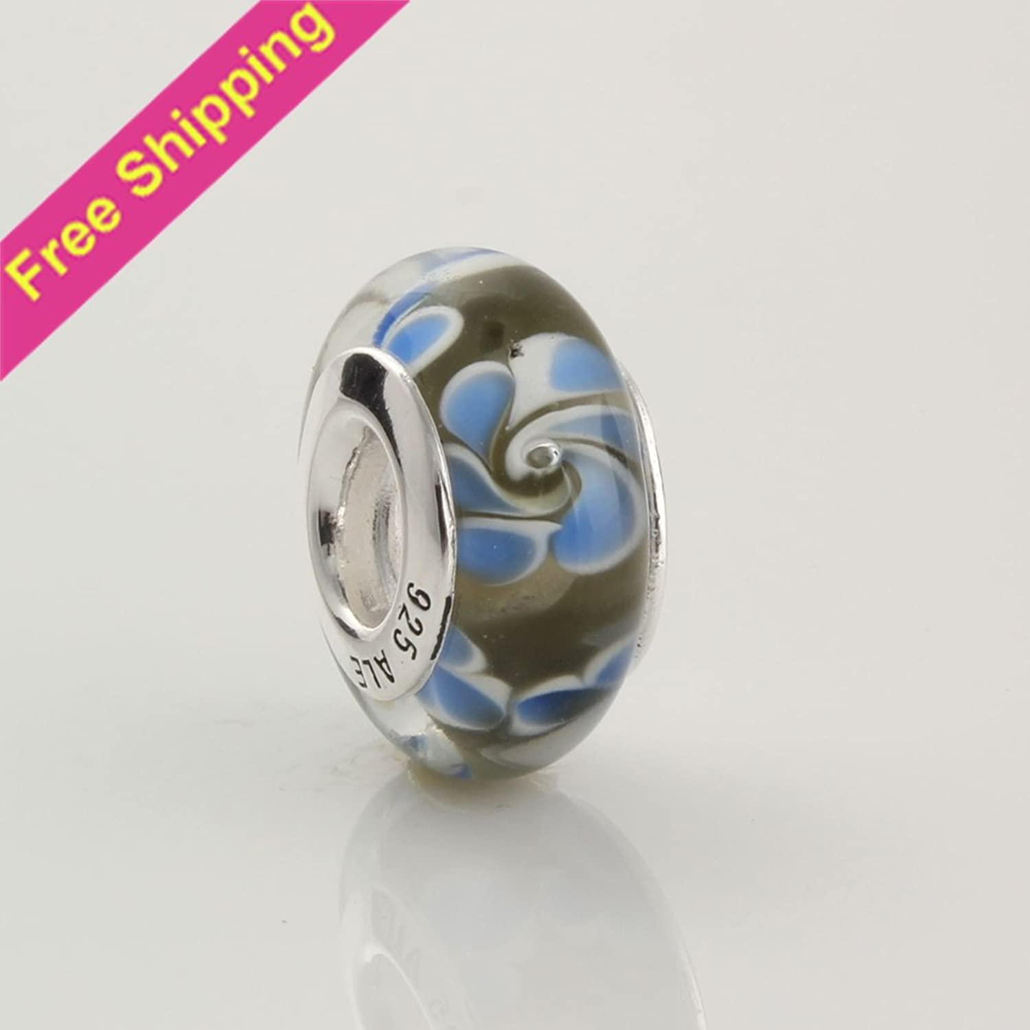 KDESIGN bluee Flower 925 Silver Core Murano Glass Thread Charm Beads Fit European Charm Bracelets Necklaces 49030