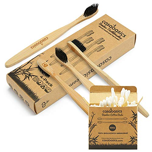 CasaBasics Organic Bamboo Toothbrushes | 4 Pack with FREE Bamboo Cotton Buds | Natural Wooden Toothbrush | Unique Bristle Shape, Medium Firm | Biodegradable Eco Friendly Vegan