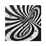 DragonSwordlinsu COOSUN - Reloj de pared en espiral abstracto en blanco y negro silencioso, acrílico no pinchado, 20,8 cm, cuadrado decorativo para el hogar/oficina, cocina, dormitorio, sala de estar