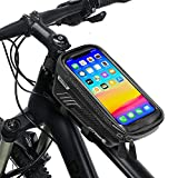 """Bike Phone Bag Bike Pouch Top Tube Bag Bicycle Front Frame Bag Waterproof Bike Accessories Bag Phone Holder Compatible with iPhone Xs Max 11 Pro PlusCellphones Under 6.5"""""""