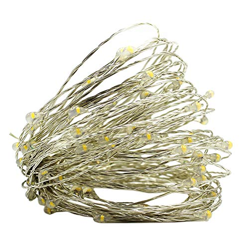 FINIVE Luces LED de Navidad, diseño estrellado de alambre de cobre para árbol de Navidad, lámparas de cuerda de centelleo, decoración de la lámpara colgante de boda, color verde 1 m