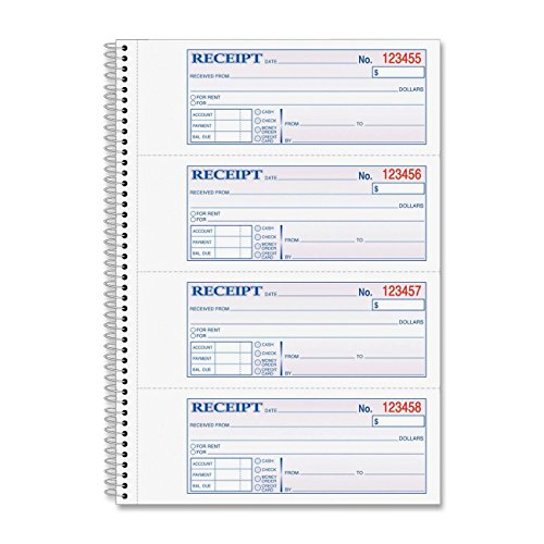 Adams Business Form Products - Recibo de dinero o alquiler, en espiral, 2 piezas, 7 – 5/8quot; x11quot; 200/BK – se vende como 1 EA – Libro de recibos de dinero/alquiler le permite registrar pagos de alquiler y otros tipos de pagos. Cada formulario indica un lugar para registrar la fecha, el nombre de los pagadores, el propósito del pago, el importe del pago, el período de tiempo que cubre la cantidad, la cantidad debida, la cantidad pagada, el balance y la firma del destinatario. Cómodos círculos con cita preimpresa; dinero en efectivo, cita; cheques, citas y citas;