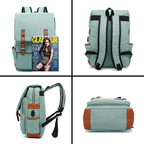 UGRACE Vintage Laptop Backpack with USB Charging Port, Elegant Water Resistant Travelling Backpack Casual Daypacks School Shoulde   r Bag for Men Women, Fits up to 15.6Inch MacBook in Green