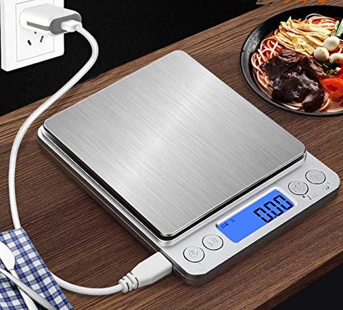 Marbeine Mini Balance de Cuisine Precision Numérique, 500g/0.01g Balance Culinaire Electronique USB Rechargeable + 2 Plateaux