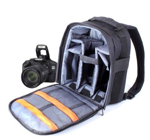 DURAGADGET Mochila Resistente con Compartimentos para Cámara Canon EOS 400D / 450D + Funda Impermeable Fotografiar Bajo La Lluvia!