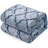 KAWAHOME Faux Fur Blanket Winter Super Soft Cozy Warm Fluffy Plush Blanket Quatrefoil Pattern for Couch Sofa Bed King Size 108 X 90 Inches Blue