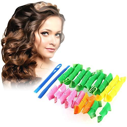 Rizos Espirales Kit, Rulos para el Pelo, Rizadores de pelo mágicos en espiral, Magic Hair Curlers Spiral Curls Styling Kit, Rizadores de pelo sin calor para cabello para Pelo Largo, Mediano y