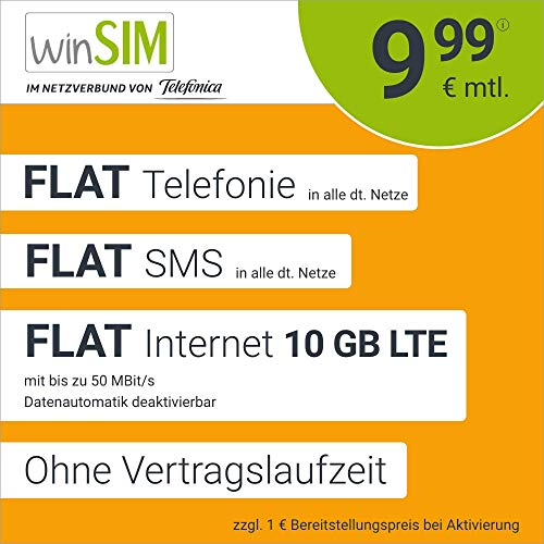 Handyvertrag winSIM LTE All 10 GB – ohne Vertragslaufzeit (FLAT Internet 10 GB LTE mit max. 50 MBit/s mit deaktivierbarer Datenautomatik, FLAT Telefonie, FLAT SMS und EU-Ausland, 9,99 Euro/Monat)