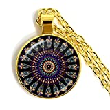 CAISHENY Charm Mandala Flower Necklace 25Mm Glass Cabochon Jewelry Mandala Symbol Bohemia Plateado Colgante Mujeres