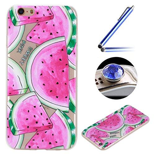 Etsue Doux Protecteur Coque pour iPhone 6/6S,TPU Matériau Frame est Transparent Soft Cover pour iPhone 6/6S,Coloré Motif par Dessin de Mode Case Coque pour iPhone 6/6S + 1 x Bleu stylet + 1 x Bling poussière plug (couleurs aléatoires)-Pastèque
