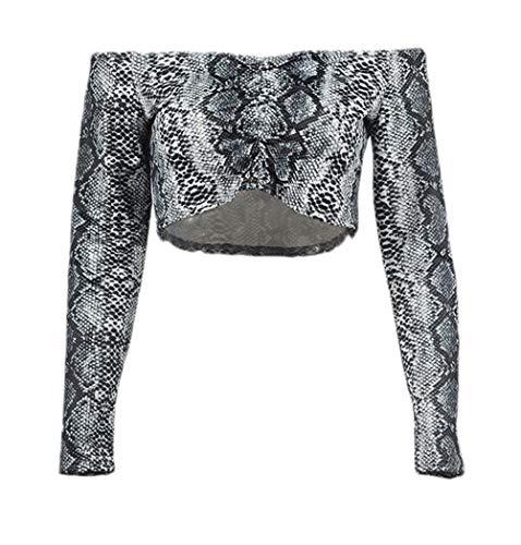 Damen Carmenbluse Fashion Vintage Schlangenmuster Crop Top Elegante Mädchen Langarm Wort Kragen Slim Fit Schulterfreies Bauchfreie Oberteile T-Shirt Shirts (Color : Schwarz, Size : S)