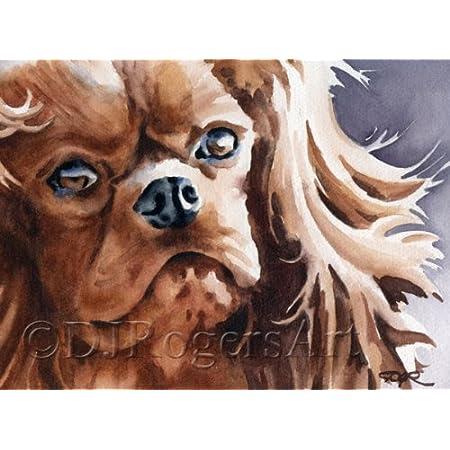 CAVALIER KING CHARLES SPANIEL RUBY DOG COMPACT MIRROR OIL PAINTING PRINT ART