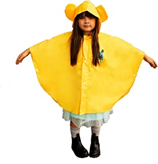 Kids Rain Poncho Toddler Poncho - High Visibility Safety Color helps keep your children in sight during less than ideal weather conditions - Bonus Combo Set Includes Comfort Items
