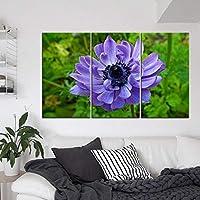 キャンバスに絵を描くクローズアップ満開の紫色の花柄モダンなスタイルのポスターの装飾キッチンまたはレストランの壁の装飾壁画-40x70cm3pcsフレームなし