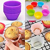ADOSOUL 12pcs Kitchen Cooks Microwave Ovens Silica Gel Round Mould Baking Mini Cake Mould Cups Cupcake Makers