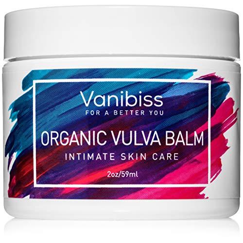 Vanibiss Crema orgánica de bálsamo de vulva, humectante vaginal, cuidado íntimo de la piel, soporte para la menopausia: alivia la sequedad, picazón, olor, irritación: libre de estrógenos (2 onzas)
