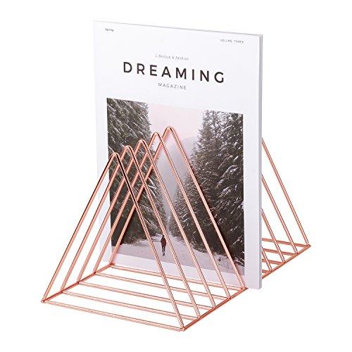 Simmer Stone Rose Gold Magazine Holder Rack, Desktop File Sorter Book Rack Organizer, 9 Slot Triangle Shape, Size 12.2'L X 7'W X 6.9'H