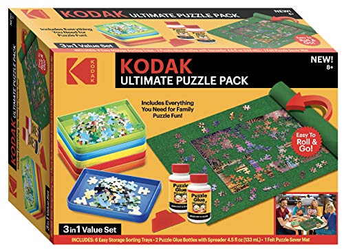 Kodak Ultimate Puzzle Accessory Pack Including: Sort 'N Stack Sorter Set, Roll 'N Go Extra Large Storage Puzzle Mat & 2 Bottles of Puzzle Glue
