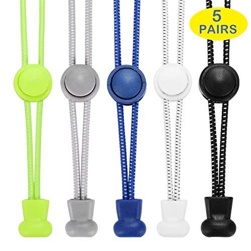 AIXMEET Sport Schnürsenkel mit Schnellverschluss, 5 Paar Elastische Schnürsenkel ohne Binden für Kinder, ältere Menschen, Läufer(Schwarz+Weiß+Grau+Blau+Gelb)