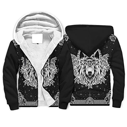Zhcon Heren Lange Mouw Rits Mandala Patroon Dier Gedrukt Fleece Sherpa Sweatshirt Winter Workout Hoodie Jas Tops Plus Size