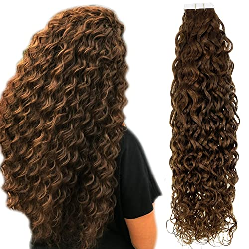 Hetto Brown Tape in Hair Extensions Curly Human Hair Tape in Extensions 16 Inch 20pcs 50g #4 Dark Brown Natural Wave...