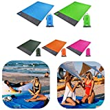 SANHAN Mr. Beach Lightweight Sand Free Beach Mat,Waterproof Pocket Beach Blanket Folding Camping Mat Mattress Portable Lightweight Mat Outdoor Picnic Mat Sand Beach Mat (78 * 82inch,Blue)