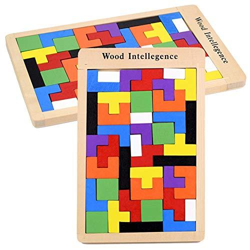 Yuefensu Holzpuzzle Tangram Kinder Holz Passendes Puzzle Bunte Tetris Puzzle Gehirn Intelligente Kinder Geometrie Lernspielzeug Toy Bricks Set (Color : Multi-Colored, Size : Free Size)