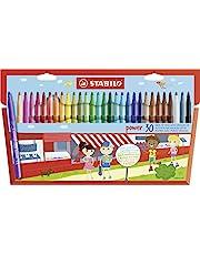 STABILO 015188 Viltstift power – 30 stuks – met 30 verschillende kleuren, Meerkleurig
