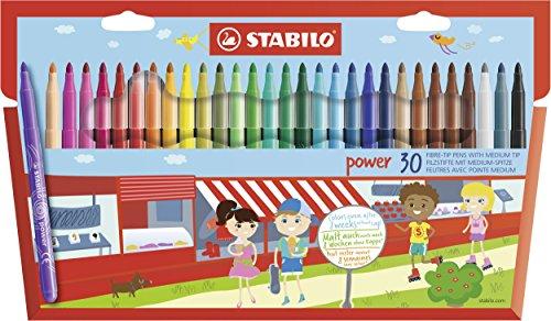 Filzstift - STABILO power - 30er Pack - mit 30 verschiedenen Farben