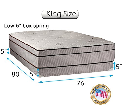 Best Bargain Dream Solutions Fifth Ave Extra Soft Foam Eurotop (PillowTop) King Mattress & Low 5 He...