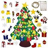Gudotra Kit de fieltro para árbol de Navidad + cadenas luminosas LED, decoración de Navidad, pared, vitrina regalos para niños (estilo 2)