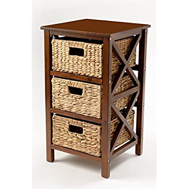eHemco 3 Tier X-Side End Table/Storage Cabinet 3 Baskets (Walnut)