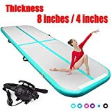 FBSPORT 8inches/4 inches Thickness airtrack mat,26ft/23ft/20ft/17ft/13ft/10ft Tumble Track air mat for Gymnastics Training/Home Use/Cheerleading/Yoga/Water with Electric Pump (Green-height-4in, 16.5)