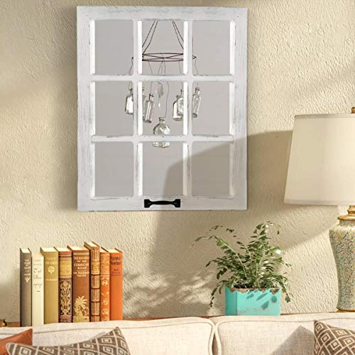 LOSOUR Decorative Wall Mirror-Distressed Wood Windowpane Mirror- Farmhouse Mirrors for Wall with Hanging Hardware for Bedroom Living Room Bathroom Kitchen (1, 18Wx23L)