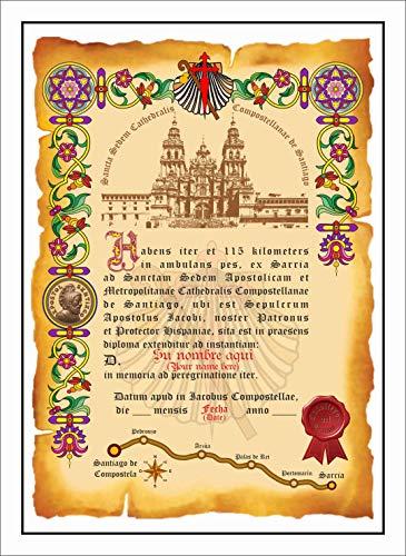 Diploma del Camino de Santiago Personalizado con su Nombre y Fecha, con el Texto en latín (Old Latin) sin Marco. (Mod: LAT-SM-03)