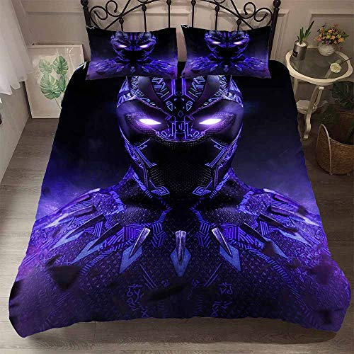 Yomoco Black Panther Bed Cover, Bed Linen Set - Duvet Cover and Pillow Case, Microfibre, 3D Digital Print, Three-Piece Bedding Set