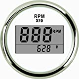 ELING Digital Tachometer RPM Gauge with Hour Meter for Car Truck Boat Yacht 0-9990RPM 52mm(2') with Backlight