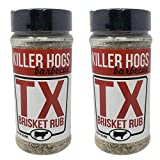 Killer Hogs Barbecue Texas Brisket Rub - Pack of 2 Bottles - 16 oz Per Bottle - 32 oz Total of Bulk Killer Hogs BBQ TX Brisket Rub