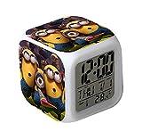 JIULIN Pegatinas de Dibujos Animados decoración del hogar habitación de los niños Luces LED cambian de Color Reloj Despertador Digital de Dibujos Animados para niños 13