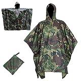 3 en 1 impermeable al aire libre Multifuntion camuflaje impermeable poncho tienda de campaña Canopy Mochila cubierta de lluvia para camping, caza, pesca (camuflaje del bosque)