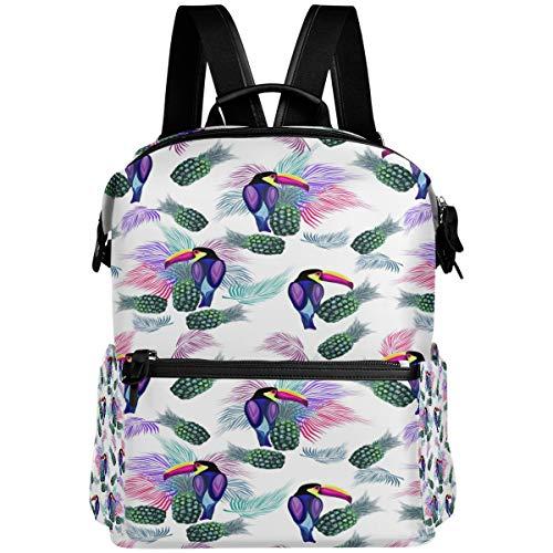 Oarencol - Mochila con diseño de tucán tropical, hojas de palma, piñas, libros escolares, viajes, senderismo, camping, portátil, mochila