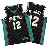 WXZB Basketball Jersey Grizzlies # 12 Morant, Camiseta de Baloncesto para Hombre, Tela Fresca y Transpirable, Nueva Sudadera de Bordado Retro S