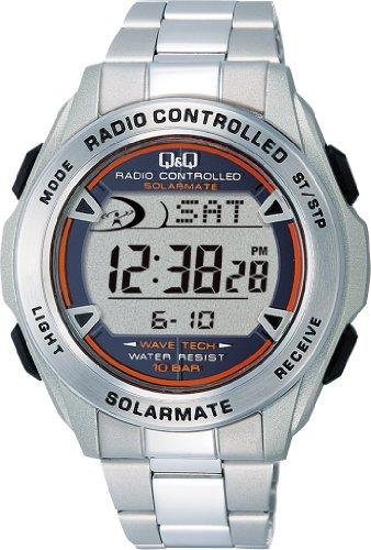 [シチズン Q&Q] 腕時計 デジタル 電波 ソーラー 防水 日付 メタルバンド MHS7-200 メンズ シルバー
