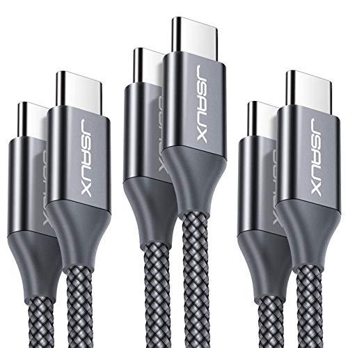 JSAUX USB C auf USB C Kabel 0.3M+1M+2M [3 Pack], USB C zu USB C Ladekabel Kompatibel für Samsung Galaxy S20/S20 Ultra/S10/S9/S8/Note 10, Google Pixel 2/2XL, Nexus 6P, Huawei P30, iPad Pro 2018 Grau